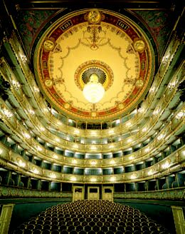 Prague Opera: Auditorium of the Estates Theatre. Get tickets for Prague Don Giovanni opera online!