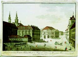 Prague Opera: Estates Theatre, formerly also called Nostitz Theatre - historical engraving
