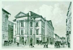 Prague Opera: Estates Theatre, formerly also called J. K. Tyl Theatre - historical engraving